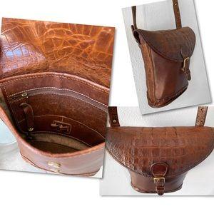 Brahmin Bags - BRAHMIN CROCO CROSSBODY ADJUSTABLE BUCKET BAG